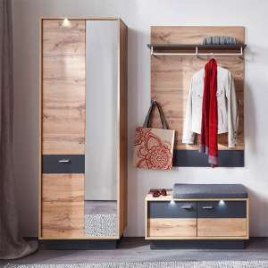 Coyco LED Hallway Furniture Set 8 In Wotan Oak And Grey