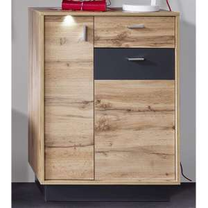 Coyco LED Shoe Storage Cabinet In Wotan Oak And Grey