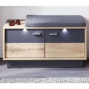 Coyco LED Wooden Seating Bench In Wotan Oak And Grey