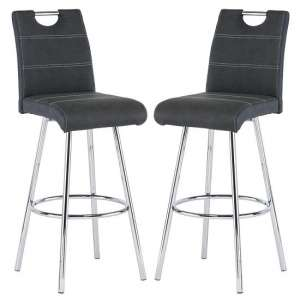 Crafton Black Faux Leather Bar Stools In Pair
