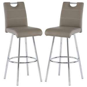 Crafton Taupe Faux Leather Bar Stools In Pair