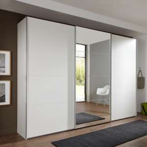 Crato Mirrored Sliding Wardrobe Large In White With 3 Doors