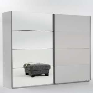 Crato Mirrored Sliding Wardrobe In White With 2 Doors