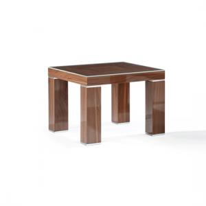 Crayon Glass End Table Square In Dark Light Walnut Gloss