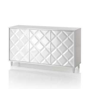 Credenza Wooden Sideboard In Glossy White Lacquered
