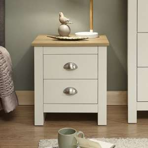 Crick Bedside Cabinet In Cream With Oak Effect Top