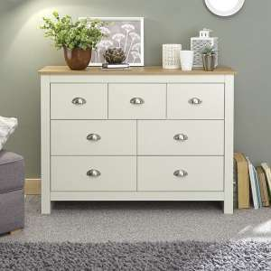 Crick Wide Chest Of Drawers In Cream With Oak Effect Top