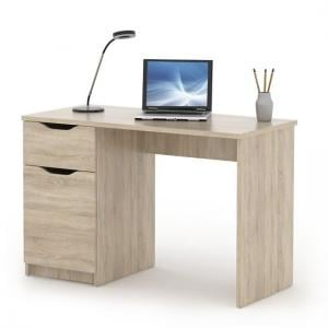 Crick Wooden Computer Desk In Sonoma Oak With 1 Door