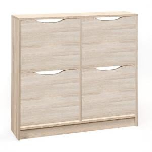 Crick Wooden Shoe Storage Cabinet In Sonoma Oak With 4 Doors