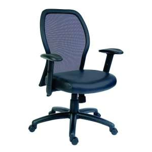 Crillon Home Office Chair In Black PU With Mesh Backrest