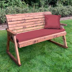 Crimi 3 Seater Rocking Bench With Burgundy Cushion