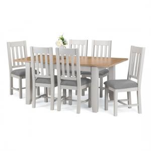 Christie Oak Top Extendable Dining Table In Grey With 4 Chairs