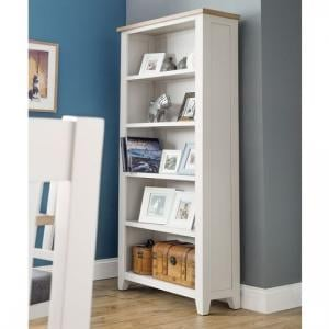 Christie Wooden Tall Bookcase In Oak Top And Grey