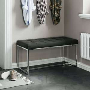 Croatia Dining Bench In Black Faux Leather With Chrome Legs