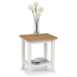 Cromley Wooden Lamp Table In Ivory Laquered With Oak Top