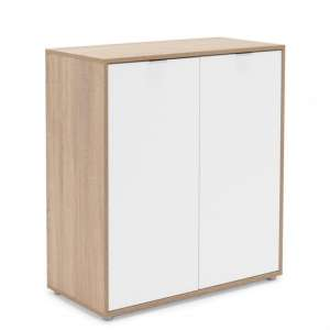 Crux Shoe Storage Cabinet In Sonoma Oak And White