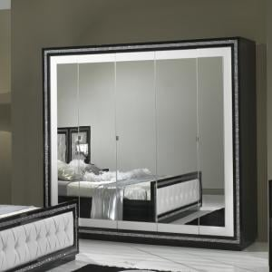 Chloe Mirrored Wardrobe In Black White Gloss With Crystal Trim