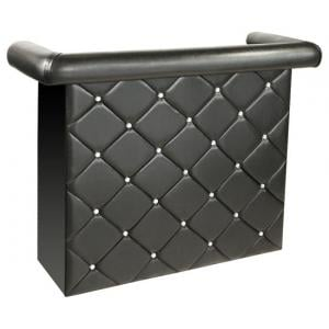 Diamond Bar Unit In Black Faux Leather With Diamanté