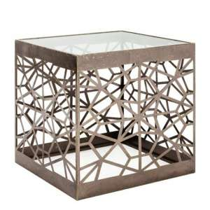 Cube Filia Clear Glass Top Side Table With Metal Frame