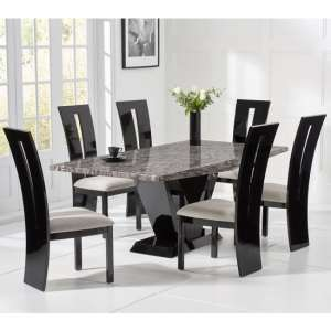 Culler Small Grey Marble Dining Table With Four Ophelia Chairs