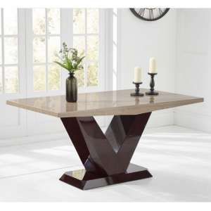 Culler Marble Dining Table In Brown With V Shape Base
