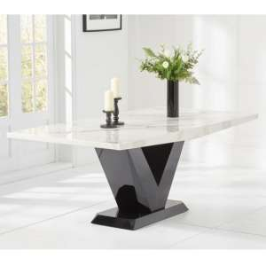 Culler Marble Large Dining Table In White With V Shape Base