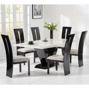 Culler Large White Marble Dining Table With Six Ophelia Chairs