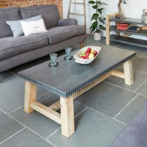 Cupello Wooden Coffee Table In Solid Acacia Hardwood And Zinc