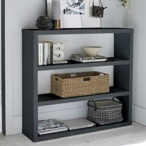 Curio Modern Bookcase In Charcoal High Gloss