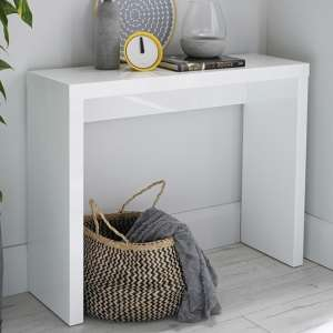 Curio Modern Console Table Rectangular In White High Gloss