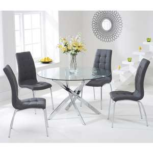 Cursa Round Glass Dining Table with 4 Gala Grey Dining Chairs