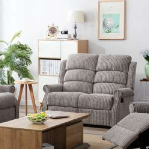 Curtis Fabric Recliner 2 Seater Sofa In Latte
