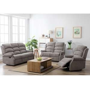 Curtis Fabric Recliner Sofa Suite In Latte