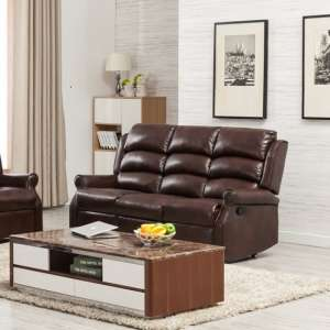 Curtis Recliner 3 Seater Sofa In Brown Faux Leather