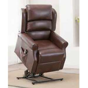 Curtis Rise And Recliner Sofa Chair In Brown Faux Leather