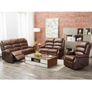 Curtis Recliner Sofa Suite In Two Tone Tan Faux Leather