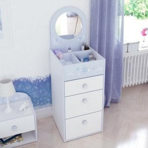 Curtis Chest Of Drawers In Pearl White Blue Trims With Mirror