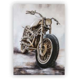 Custom Bike 3D Picture Canvas Wall Art In Silver And Grey