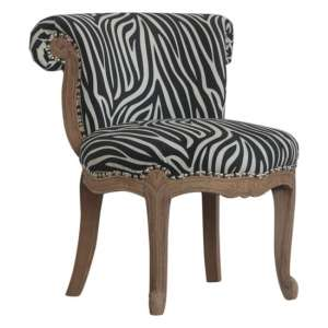Cuzco Velvet Accent Chair In Zebra Printed And Sunbleach