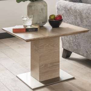Cypress Wooden Lamp Table In Natural Oak With Metal Base