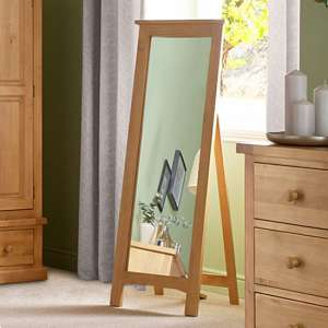 Cyprian Wooden Cheval Mirror In Chunky Pine Frame