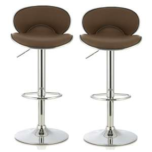 Cyrus Modern Bar Stool In Cappuccino Faux Leather In A Pair