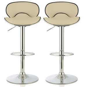 Cyrus Modern Bar Stool In Cream Faux Leather In A Pair