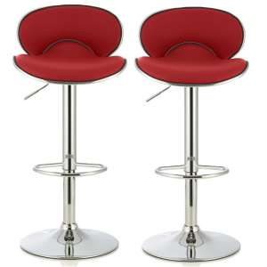 Cyrus Modern Bar Stool In Red Faux Leather In A Pair
