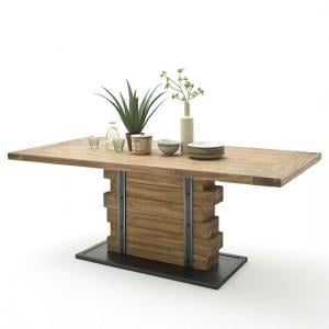 Dakota Wooden Dining Table Large In Teak With Anthracite Base