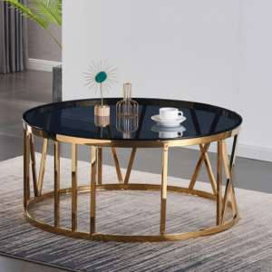 Dalila Black Glass Coffee Table With Gold Stainless Steel Legs