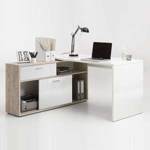 Dalton Corner Computer Desk In Sand Oak And Gloss White