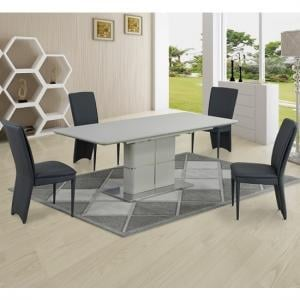 Dama Extendable Dining Set In Ceramic Cream Matt 6 Ergo Chairs