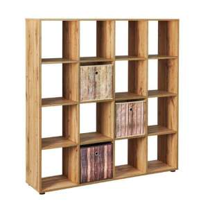 Damian FSC Display Shelves In Wotan Oak With 16 Compartments