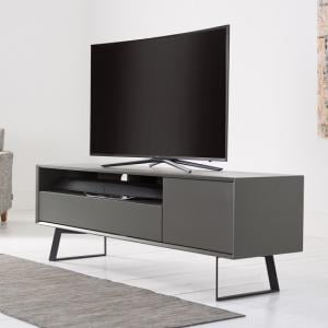Daniel Large TV Stand In Charcoal Grey With Flap Door